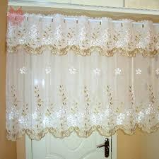 Gardinen Weiß Floral Stickerei Halb Vorhang Bay Fenster Vorhang Tüll