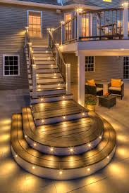 trex outdoor lighting and stair raiser lights can help your party carry long into the night