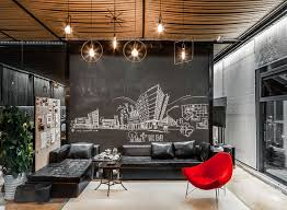 Meeting Room Of The Office With Chalkboard Wall And Rope Ceiling