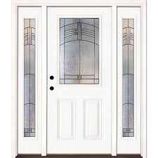 this review is from 67 5 in x 81 625 in rochester patina 1 2 lite unfinished smooth right hand fiberglass prehung front door w sidelites