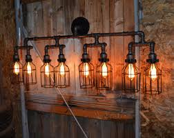 industrial lighting fixture. Rustic Industrial Lighting - Vanity Light Pipe Wall -Rustic Bathroom Fixture
