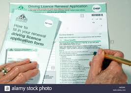 drivers licence form a dvla british driving licence renewal application form d46p stock