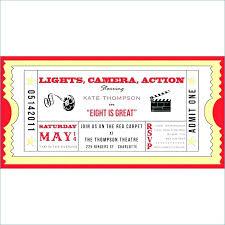 Movie Themed Invitation Template Party Templates Free Ticket Ipcco Co