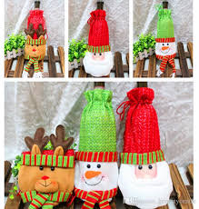 How To Decorate A Wine Bottle For Christmas Christmas Decorations Wine Bottle Cover Bags Decor Banquet Santa 90