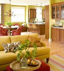 ... green touches A cheerful living room ...