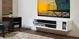 White Wall Mounted Media Shelf And Console Cabinet For Tv, Trendy Wall  Mounted Media Shelf