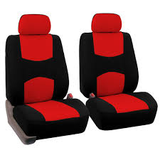fh group universal flat cloth fabric car seat cover full set red and black com