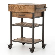 Rolling Kitchen Island Industrial Reclaimed Wood Rolling Kitchen Island Cart Zin Home