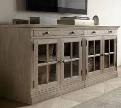 livingston small tv stand with glass doors gray wash