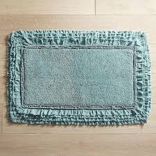 rectangular frayed edge teal bath rug