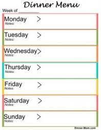 free weekly dinner menu templates
