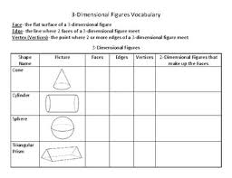3d Shapes Edges Vertices And Faces Chart 3d Shapes Information Chart