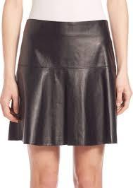 leather flared hem skirt
