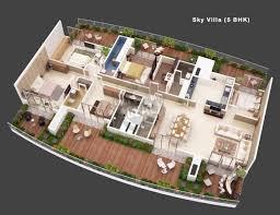 Villa 5 | 3D House Plans & Floor Plans in 2018 | House plans, House ...