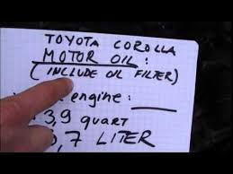 How much I need engine oil for oil change VVTi Toyota Corolla - YouTube