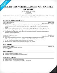 Sample Resume For Nursing Assistant New Resume Sample For Cna Resume Examples Resume Example Certified