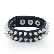 details about stud spike bracelet leather wristband 2 row punk metal gothic rock retro