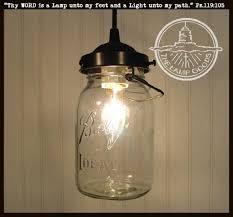 Mason Jar PENDANT Light Vintage Quart