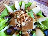 baby greens with pears  gorgonzola and pecans