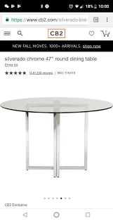 cb2 silverado chrome 47 round dining table furniture in santa clara ca offerup