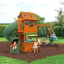diy swing set with slide and climbing wall swingset