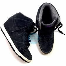 details about nike dunk sky hi essential wedge suede sneakers 528899 black purple womens 8 5