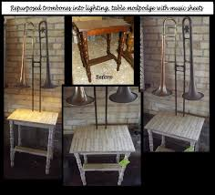 into lighting. repurposed trombones into lighting table decoupage with music sheets follow us for more wonderful