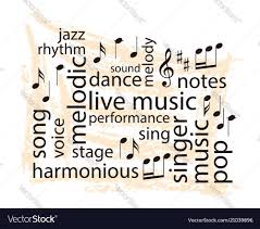 music notes in words music word collage notes and words on grungy