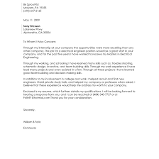Cover Letter For Electrical Engineer Internship Adriangatton Com
