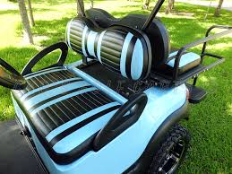 yamaha golf cart seat cover upholstery extreme striped powder blue with black