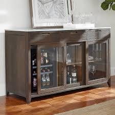 amador sliding glass door credenza with wine refrigerator wine enthusiast