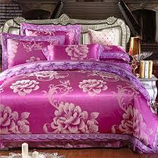 purple silk cotton lace duvet cover set