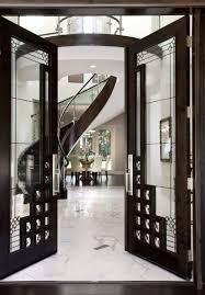 luxurious glass hallway door inside an expensive mansion