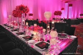 Elegant Reception Table Dcor Elegant Reception Table Dcor black pink  candles floating candle mirrored tables tall