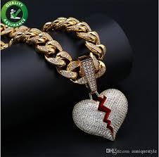 whole hip hop jewelry designer necklace iced out pendant cuban link chain gold diamond break heart pendants luxury bling charm rapper men wedding