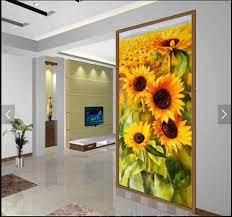 3d Motif Bunga Wallpaper Mural untuk ...