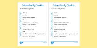 Checklist For School School Ready Checklist Secondary School Ready Checklist Secondary