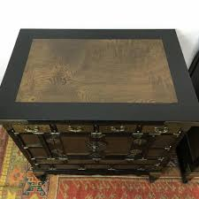 vintage 4 drawer korean lacquered burl side table cabinets to expand