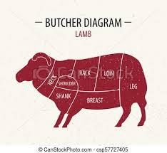 Cut Of Lamb Poster Butcher Diagram For Groceries Meat Stores Butcher Shop