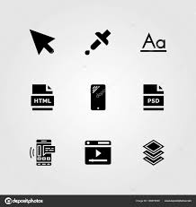 Web Design Icon Psd Web Design Vector Icon Set Pipette Smartphone Html And