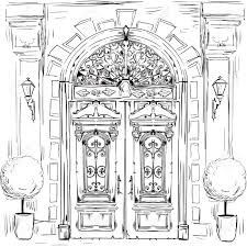 ilration with sketch of old doors vector ilration stock vector 60327225