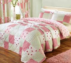shabby chic patchwork duvet cover  floral pink  green quilt