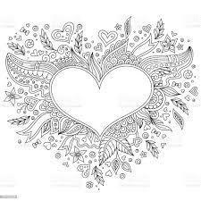 Pagina Da Colorare Di Fiore Cuore San Valentino - Immagini vettoriali stock  e altre immagini di Adulto - iStock