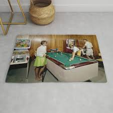 1960 s game room with pinball and a pool table in the admiral motel in wildwood nj rug