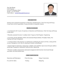 Chief Engineer Sample Resume