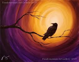 midnight raven acrylic step painting canvas beginners