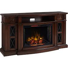 scott living 72 in w 5 200 btu chestnut mdf infrared quartz electric fireplace with