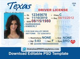 Editable Driver Template Psd Texas License Download File