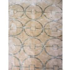 hand knotted cream and ivory wool silk rug 15 9 x 18