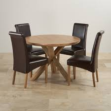 natural real oak dining set round table 4 brown leather counter height dining set with leather